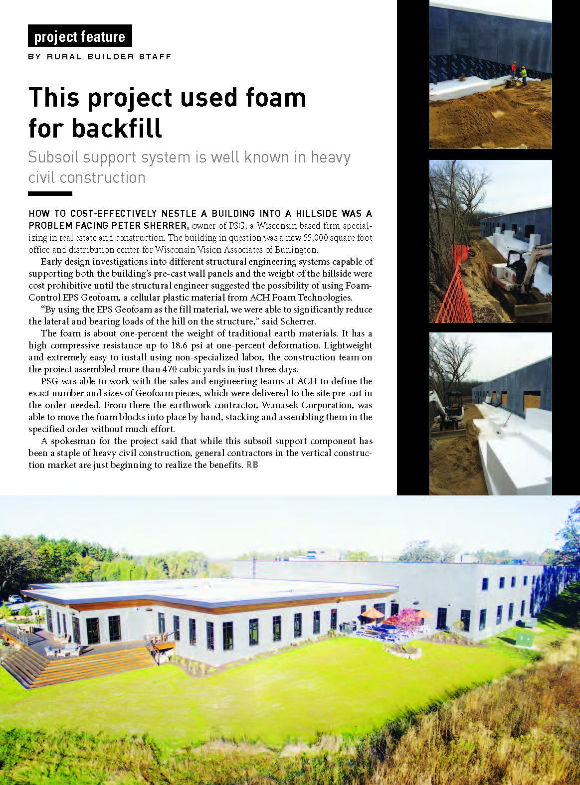 WVA, Inc. project, PSG, Inc. and Wanasek Corp. featured in multiple publications for use of Geofoam